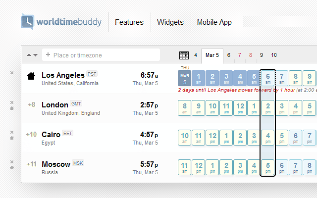 WorldTimeBuddy Time Selector Preview Software